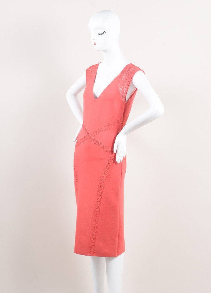 Zac Posen New With Tags Coral Woven Stretch Knit Crochet Trim Bodycon Dress Sideview