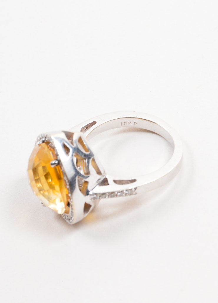 18K White Gold Citrine Diamond Embellished Heart Shaped Ring Sideview 2