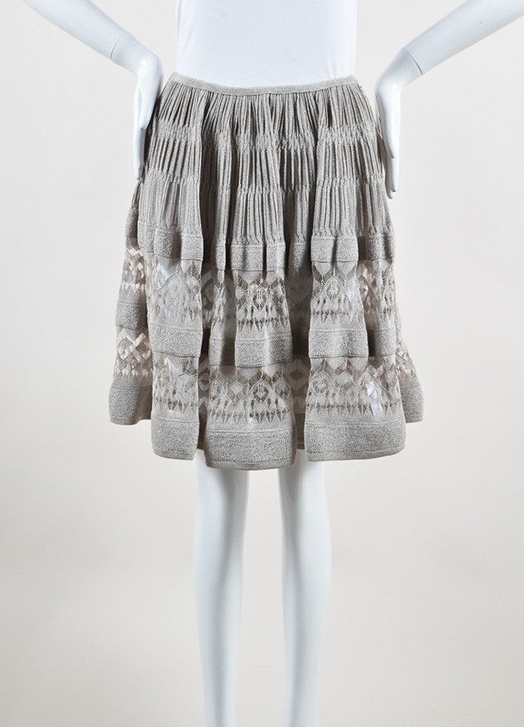 Alaia Silver Metallic Crochet Semi Sheer Ruched A-Line Skirt Frontview