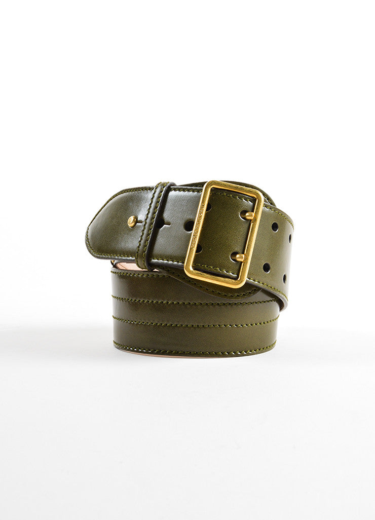 Alexander McQueen Olive Green Leather Stitched Wide Waist Belt Frontview