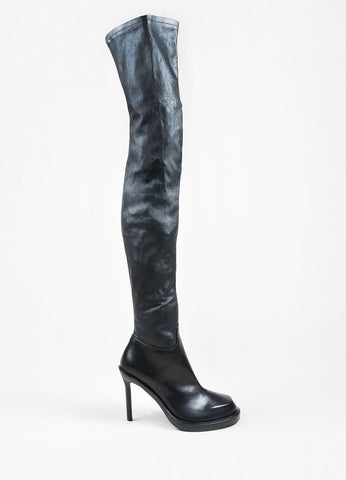 "Black Leather Ann Demeulemeester ""Glove"" Thigh High Heel Boots Sideview"