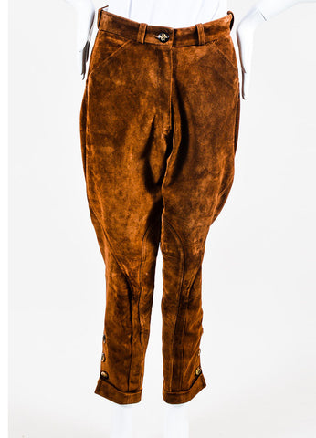 Brown Suede Hermes Button Leg Cuffed Riding Pants Frontview