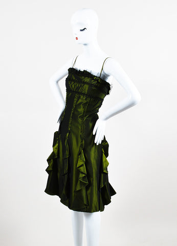 Badgley Mischka Green Ruffle A Line Strapless Cocktail Dress Sideview