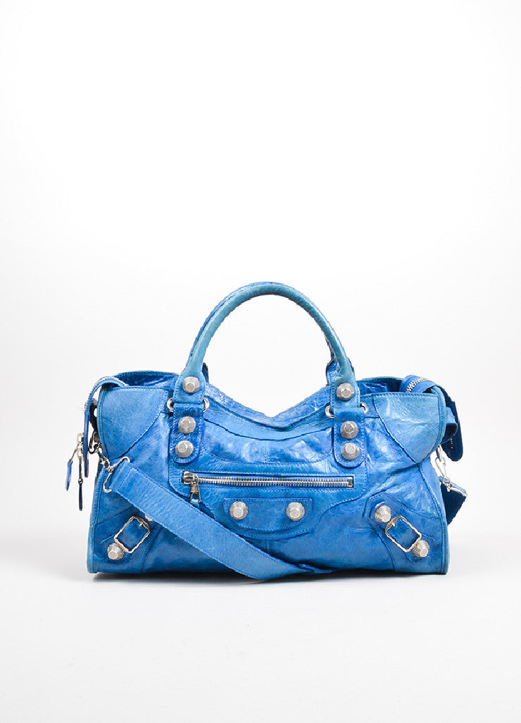 "Blue Balenciaga Leather ""Giant Part Time"" Satchel Bag Frontview"