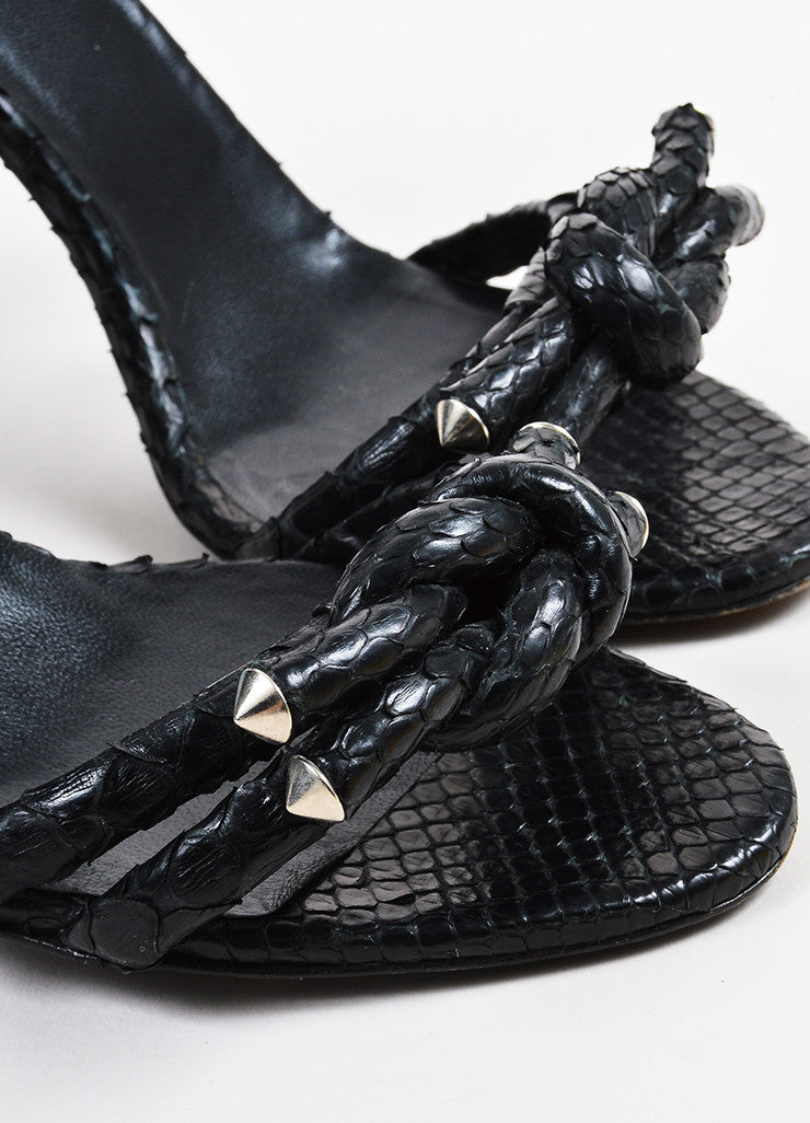 Balenciaga Black Python Open Toe Studded Knot Chunky Heel Sandals Detail