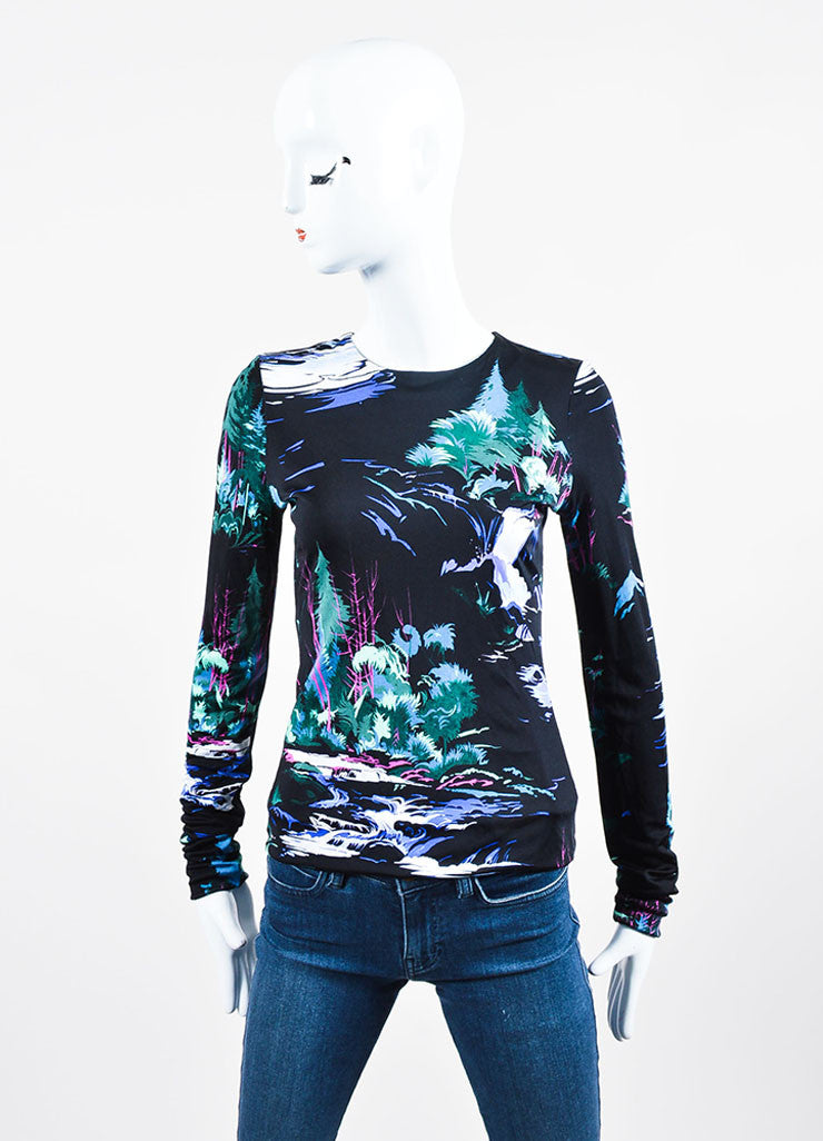 "Black and Green Balenciaga Jersey Knit ""Landscape Print"" Long Sleeve Top Frontview"