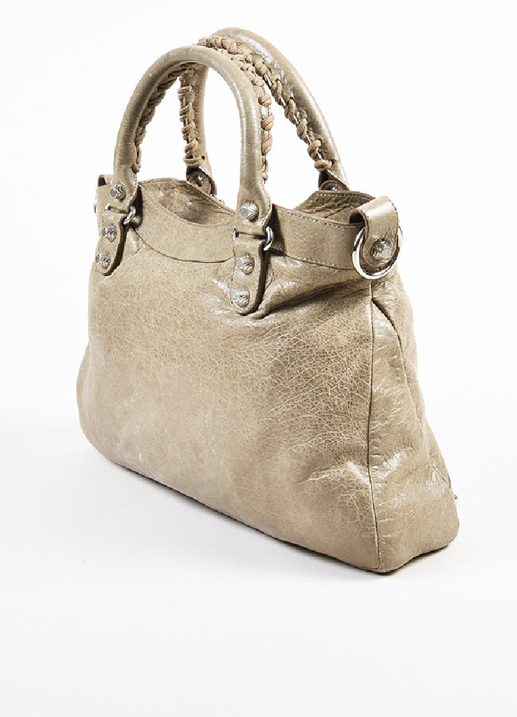 "Balenciaga Taupe Grey Leather Silver Toned Studded ""Giant 12 Town"" Bag Sideview"