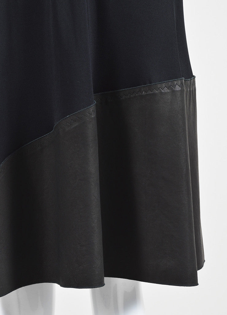 Bottega Veneta Black Silky Ruffle Mesh Chain Mail Leather Short Sleeve Dress Detail
