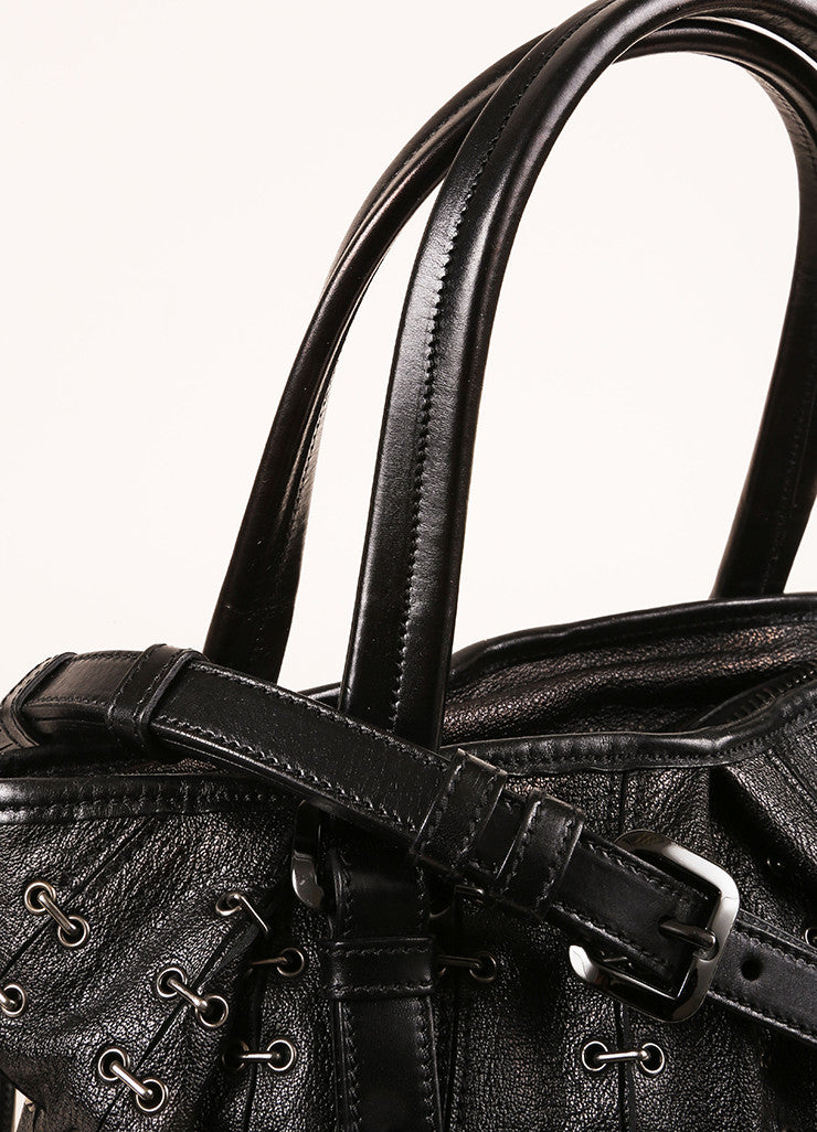 Burberry Black Grain Leather Grommet Staple Link Handbag Detail 2