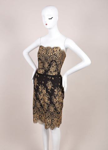 Carolina Herrera New With Tags Black and Gold Lace Strapless Dress Sideview