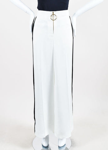 Celine White and Black Stripe Detail Wide Leg Pants Frontview