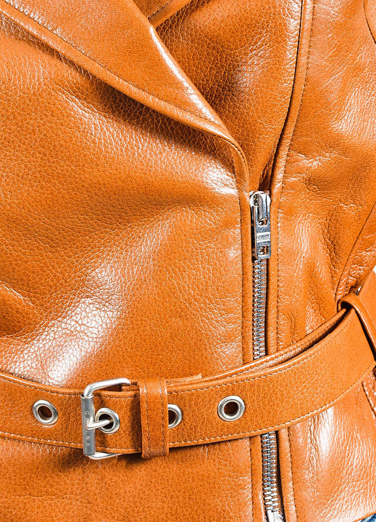 Celine Brown Pebbled Lamb Leather Silver Toned Belted Biker Jacket Detail