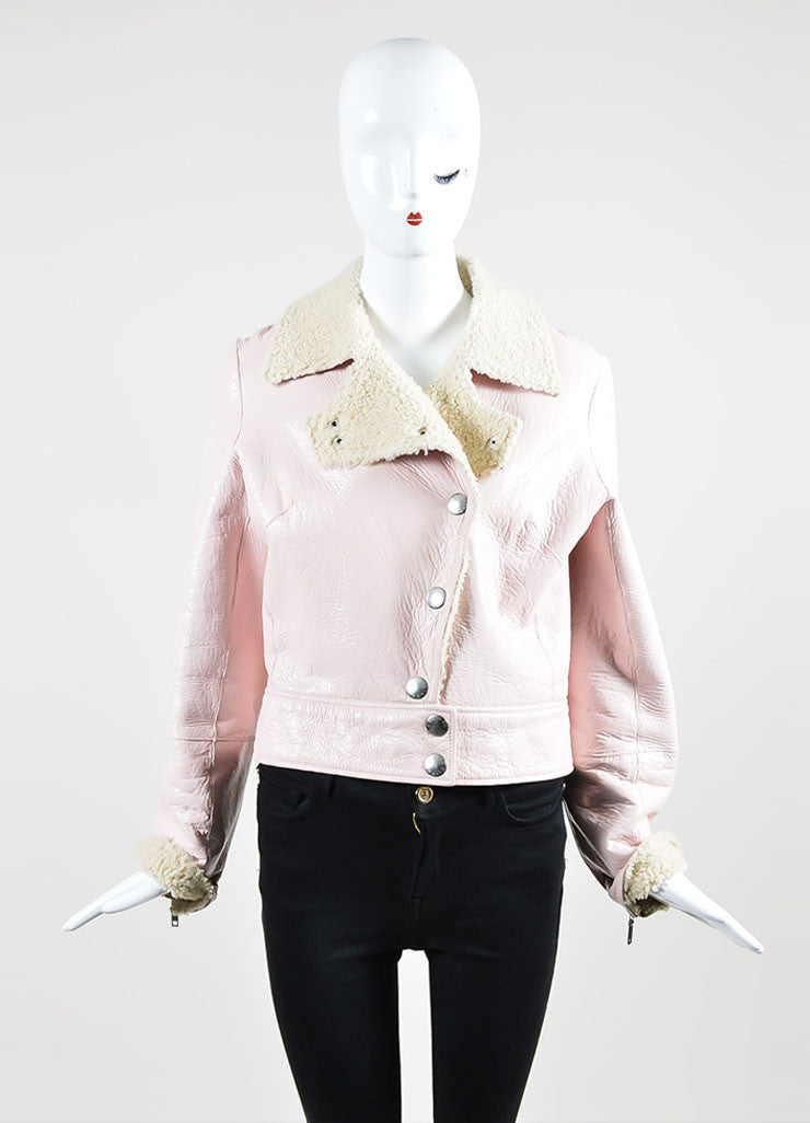 Pink Celine Coated Crackle Leather Shearling Moto Jacket Frontview 2
