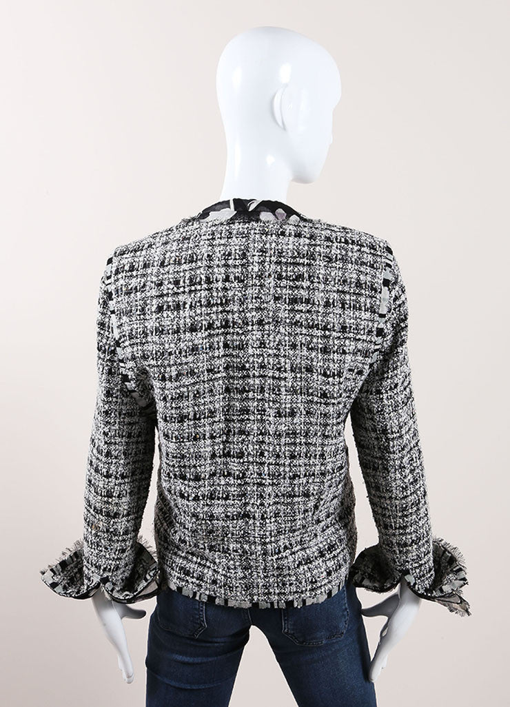 "Chanel Black and White Cotton, Silk, and Wool Tweed ""CC"" Button Jacket Backview"