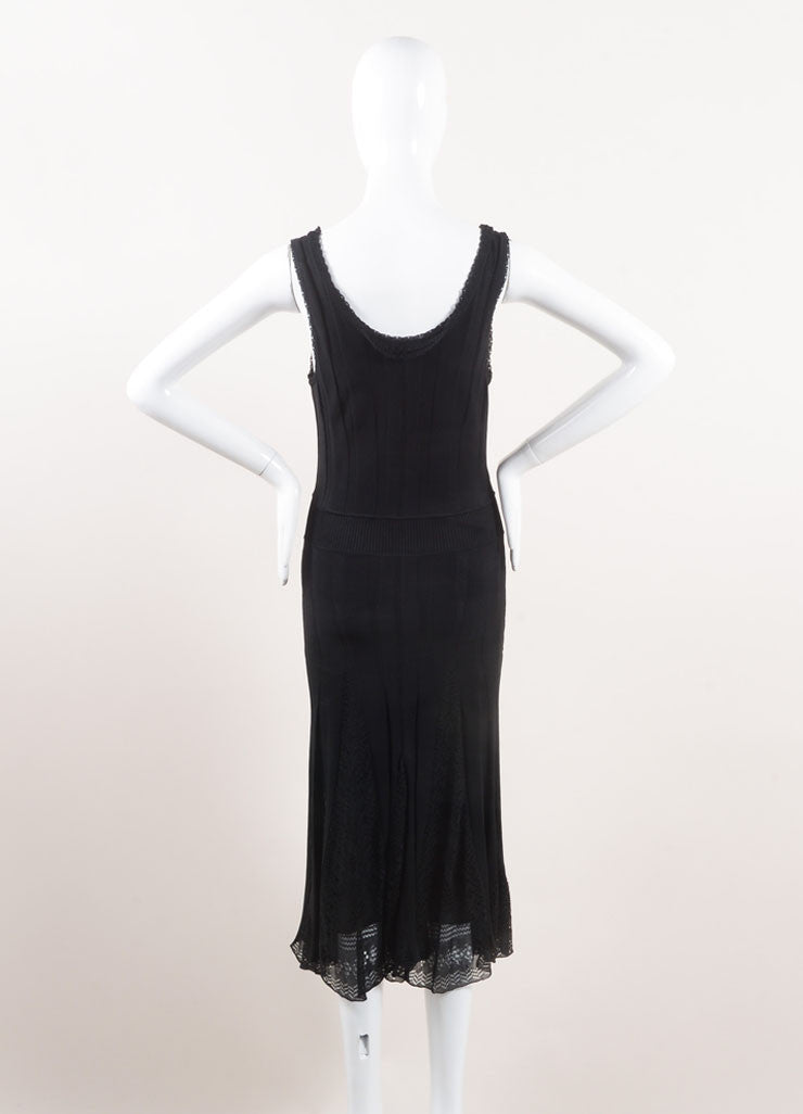 Chanel Black Textured Ribbed Knit Eyelet Pleated Sleeveless Dress Backview