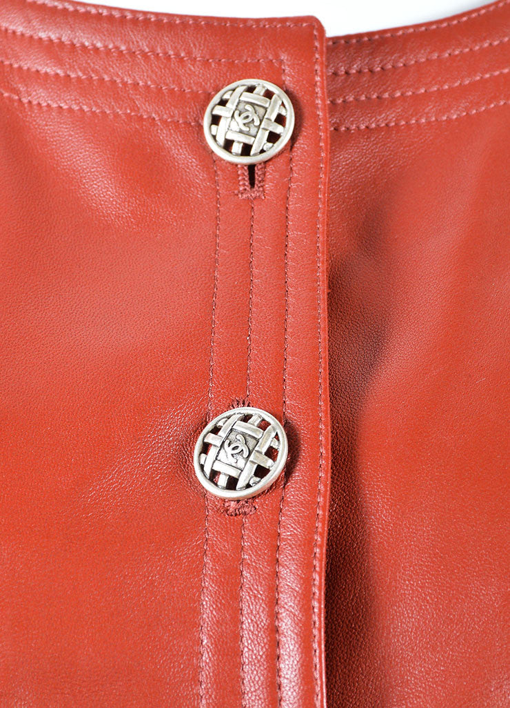 Chanel Dark Red Leather Button Up Crop Sleeve Blazer Detail