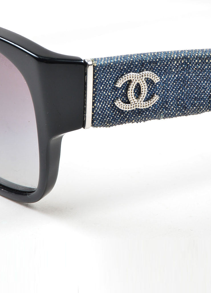 Black and Denim Chanel Silver Toned 'CC' Wayfarer Sunglasses Detail
