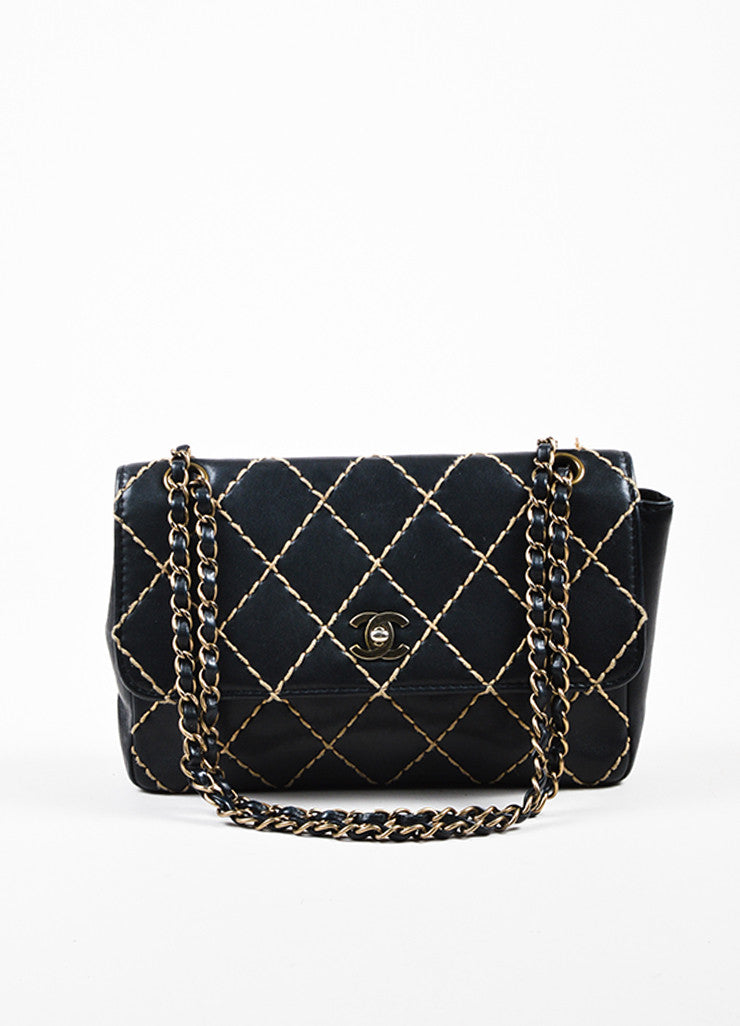"Chanel Black Quilted Leather Chain Strap ""Wild Stitch Medium Flap"" Bag Frontview"