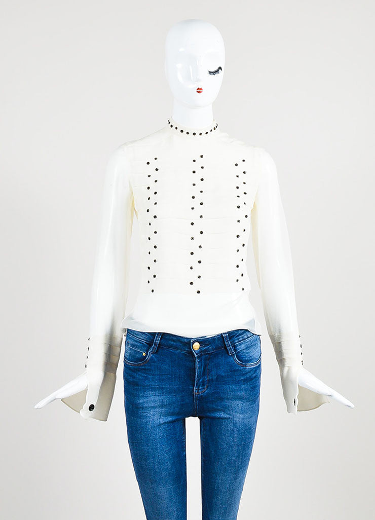 Chanel Cream and Black Silk Ringlet Detail Long Sleeve Round Neck Blouse Frontview