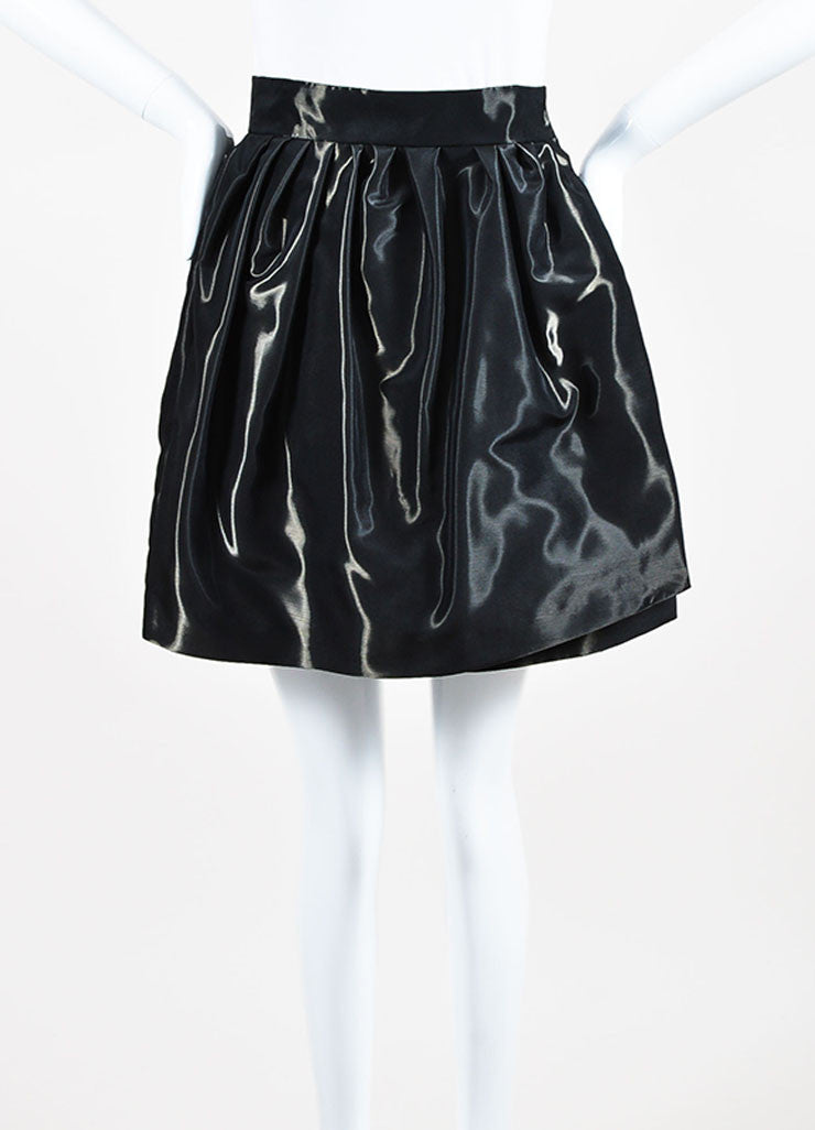 Grey Christian Dior Taffeta Pleated Bubble Mini Wrap Skirt Frontview