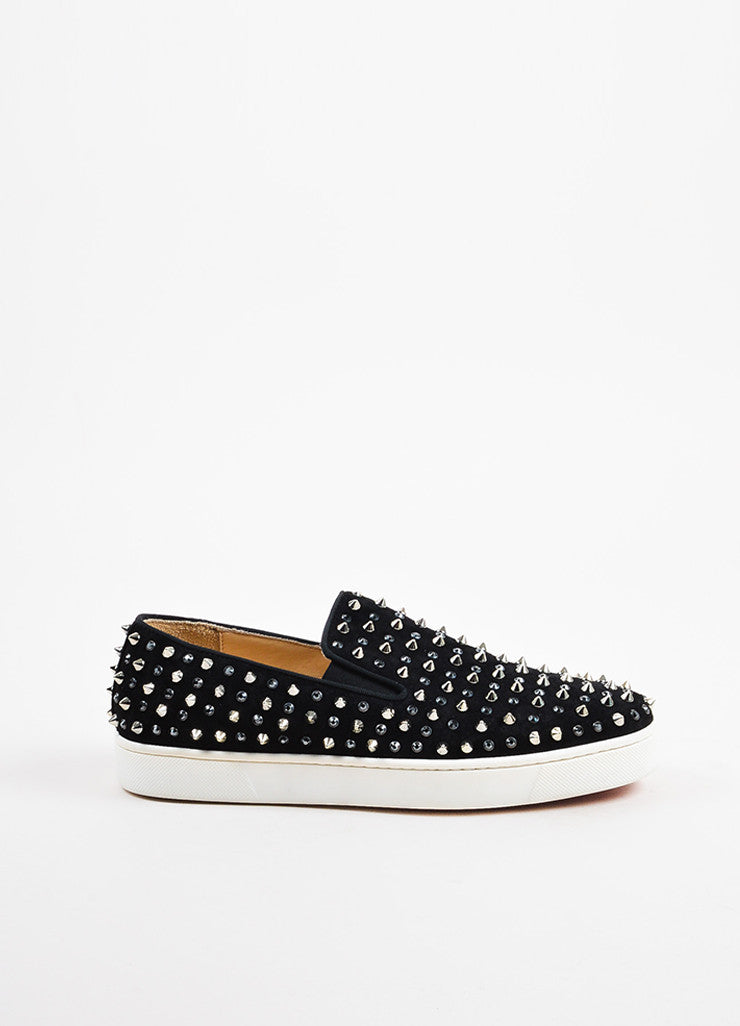 "Christian Louboutin Black Suede Spike ""Roller"" Slip On Sneakers Sideview"