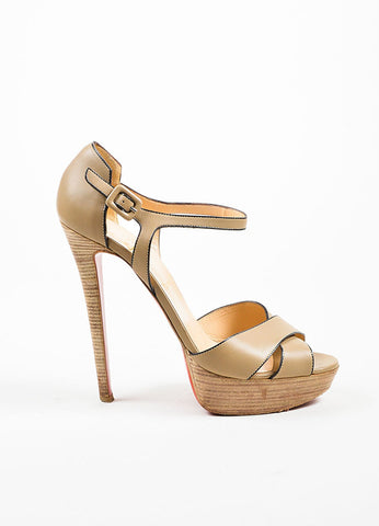 "Christian Louboutin Taupe Leather ""Sporting 140"" Ankle Strap Sandals Sideview"
