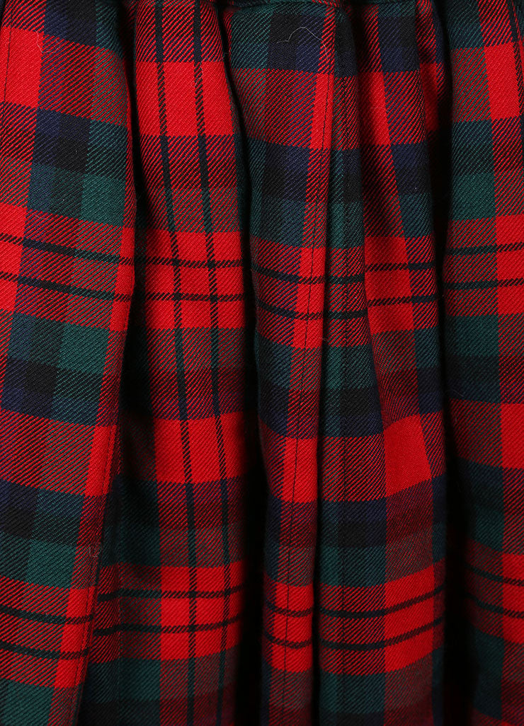 Comme des Garcons Red, Green, and Multicolor Wool Plaid Padded Full Skirt Detail