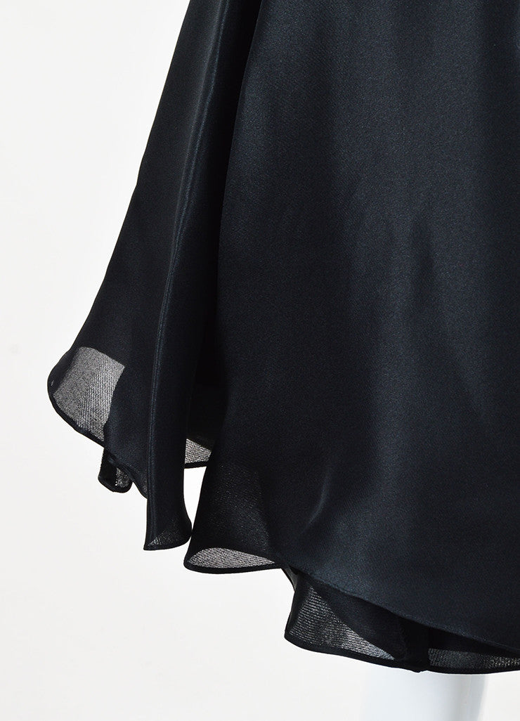 Cushnie Et Ochs Black Silk Layered Pleated Flare Skirt Detail