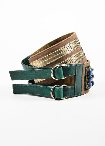 Dries Van Noten Brown and Green Canvas Leather Mixed Metal Stone Waist Belt Frontview