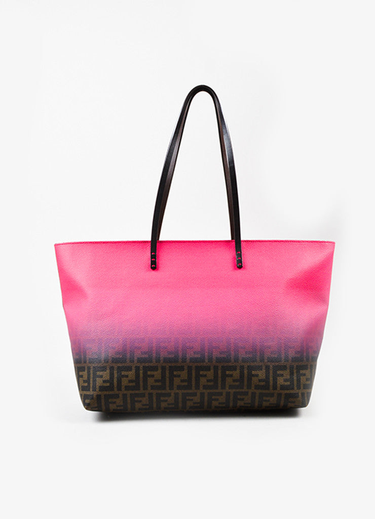 "Fendi Pink and Brown Coated Canvas ""Zucca"" Monogram Ombre Tote Bag Frontview"
