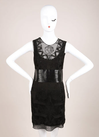 Gianni Versace Black Cotton Textured Sheath Dress Frontview