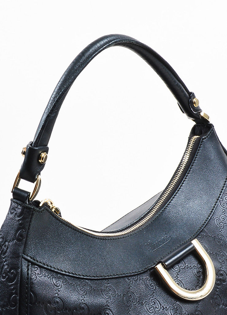"Gucci Black Leather Logo Embossed ""Guccissima"" Hobo Bag Detail 2"