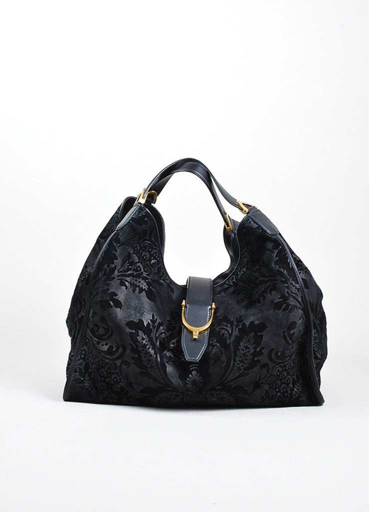 "Black Gucci Leather Paisley Burnout Dual Handle Carryall ""Stirrup"" Bag Frontview"