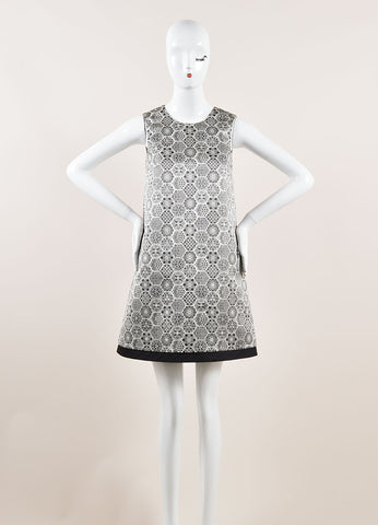 Gucci Black, White, and Metallic Silver Silk Woven Geometric Shift Dress Frontview