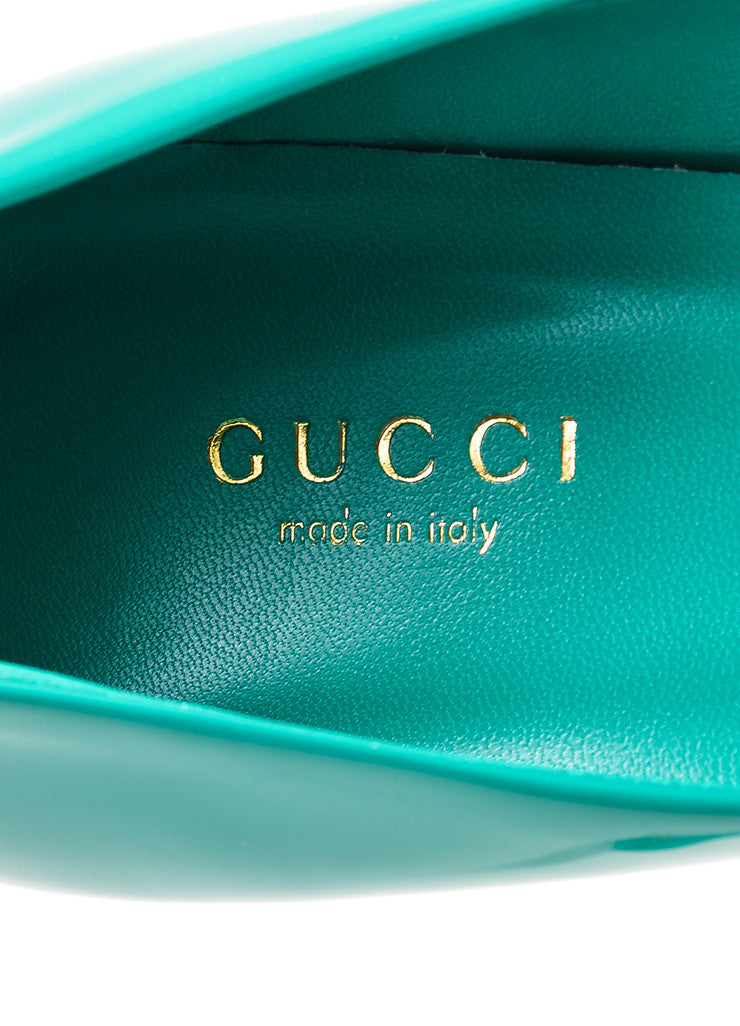 "Gucci ""Spring Water"" Teal Patent Leather Pointed Toe 65mm Pumps Brand"