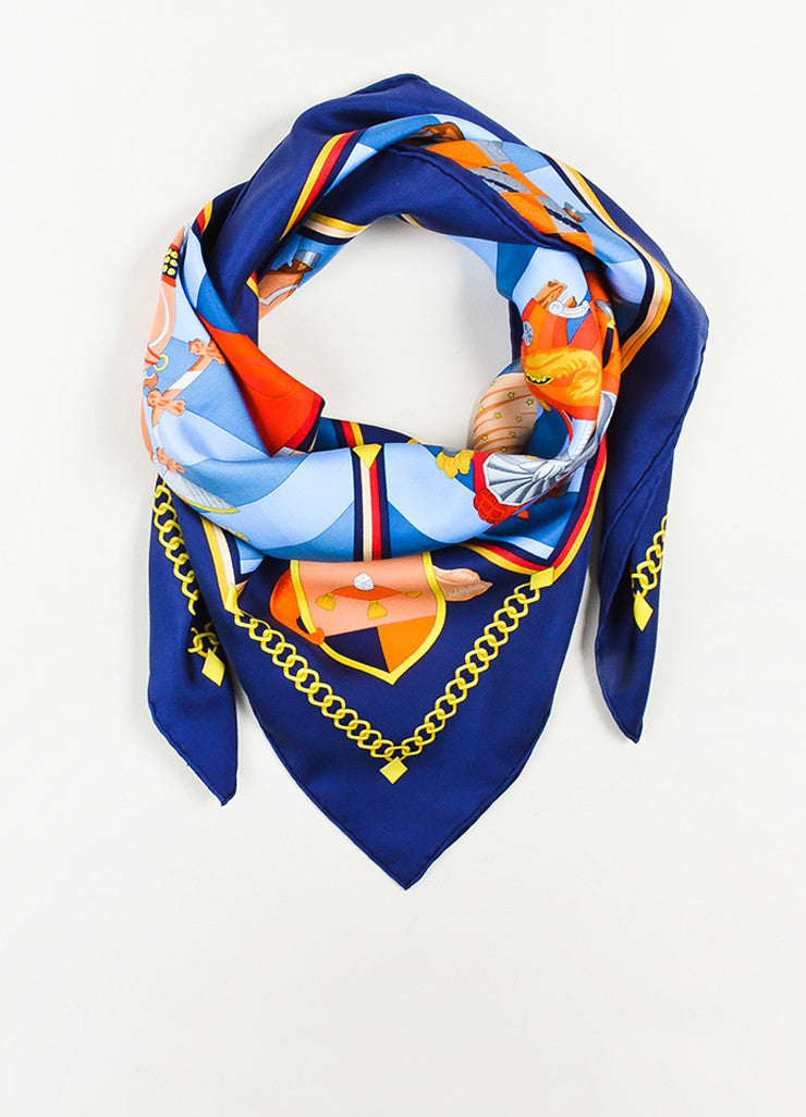 "Hermes Blue and Multicolor Silk ""Chocs en Plumes"" Scarf Frontview"