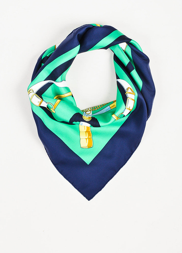 "Hermes Green, Navy, and Yellow Silk Equestrian Print ""Eperon D'Or"" Scarf Frontview"