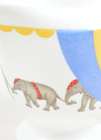"White, Yellow and Blue Hermes Porcelain ""Les Elephants"" Circus Print Creamer Detail"