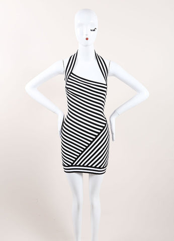 Herve Leroux New With Tags Black and White Striped Bodycon Halter Dress Frontview