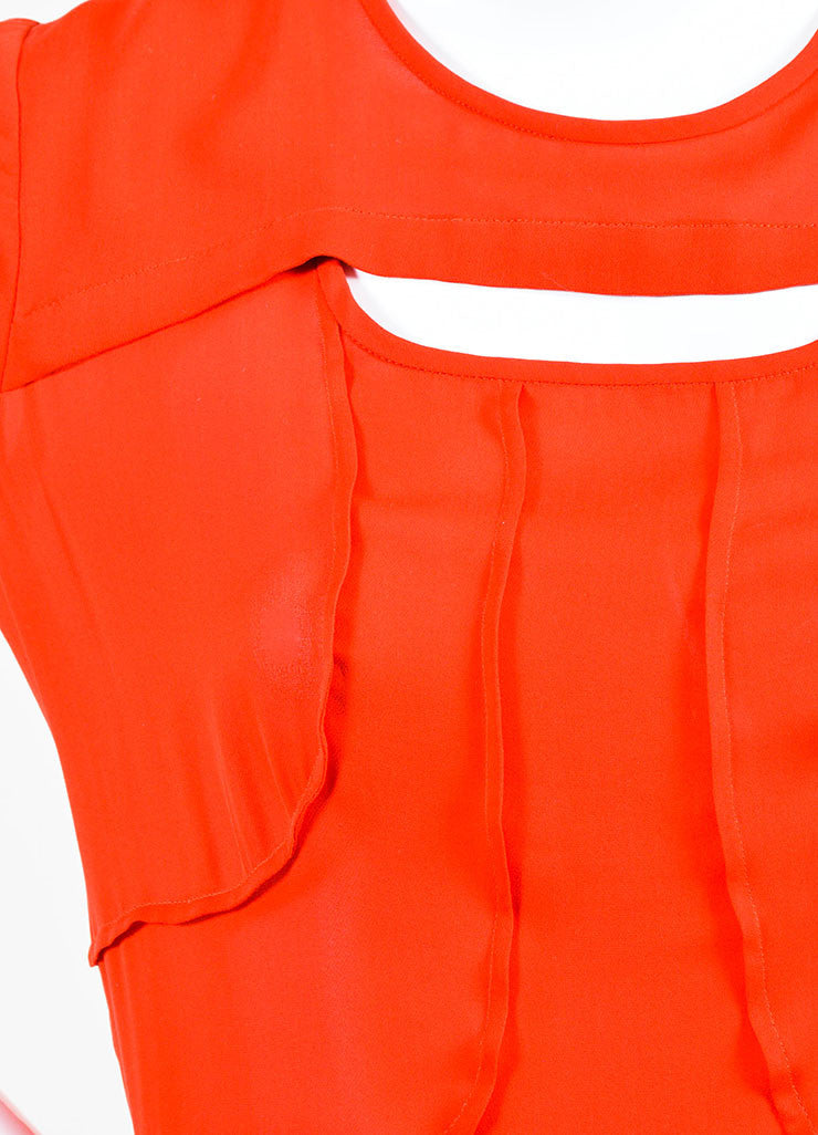 Isabel Marant Red Silk Tiered Cut Out Short Sleeve Dress Detail