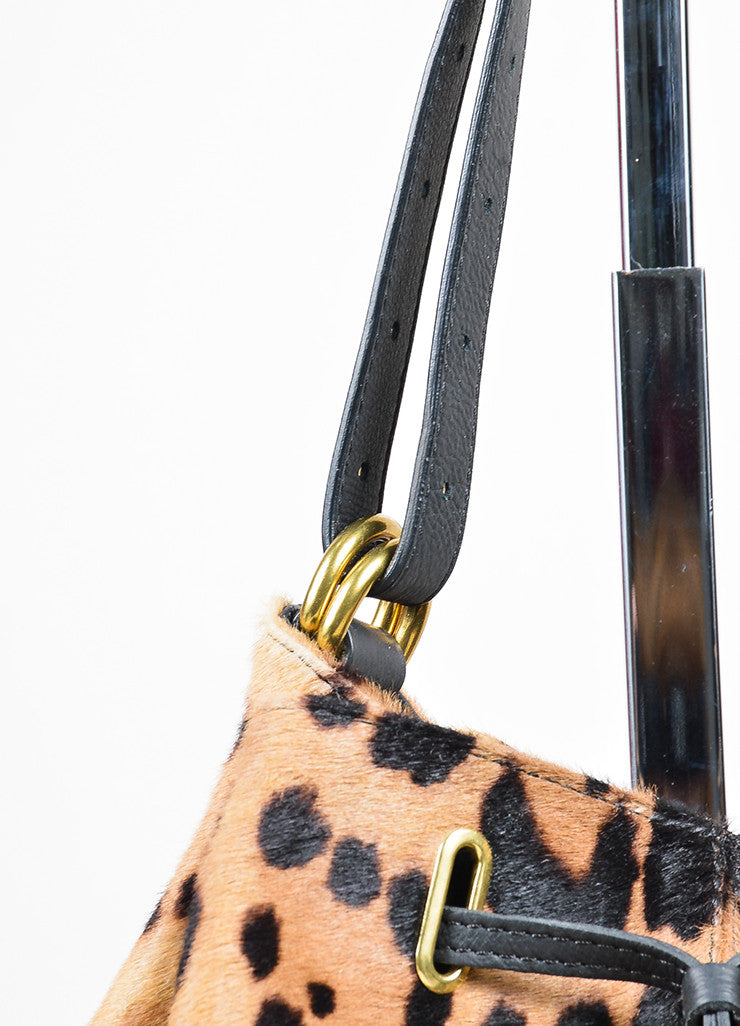 "Tan and Brown Jerome Dreyfuss Pony Hair Leopard Drawstring ""Alain"" Bucket Bag Detail 2"