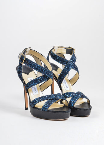 Black and Navy Jimmy Choo Leather Glitter Platform High Heel Sandals Frontview