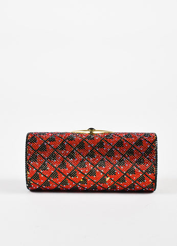 Judith Leiber Black and Red Zig Zag Crystal Embellished Minaudiere Clutch Bag Frontview