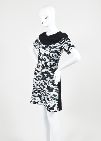 Black and White Kenzo Geometric Wave Print Short Sleeve Dress Sideview