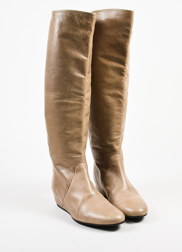 Lanvin Taupe Leather Covered Wedge Heel Knee High Boots Frontview