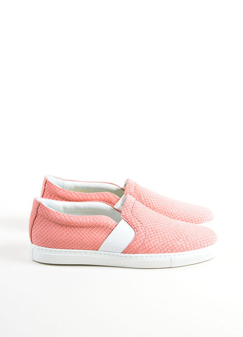 "Lanvin Rose Pink Leather Reptile Embossed ""Nora"" Slip On Sneakers Sideview"