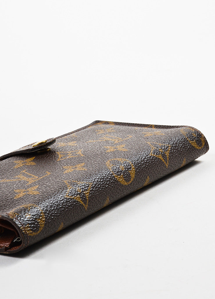 "Louis Vuitton Brown Monogram Canvas ""Long French Purse Wallet"" Bottom View"