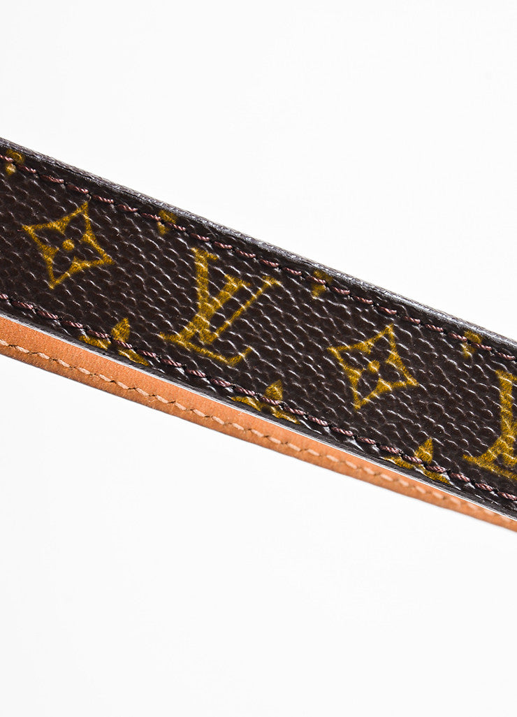 Louis Vuitton Brown Monogram Canvas Skinny Belt Detail 2