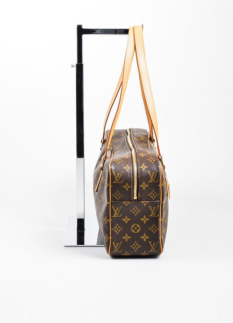 "Brown and Tan Louis Vuitton Coated Canvas Monogram ""Cite GM"" Shoulder Bag Sideview"