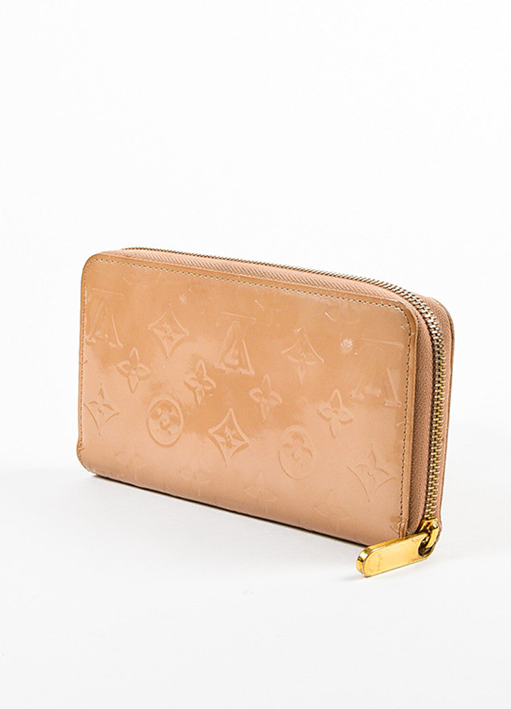 "Louis Vuitton Nude ""Noisette"" Vernis Patent Leather Monogram ""Zippy"" Wallet Sideview"